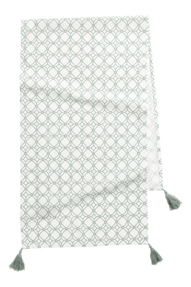 Patterned table runner - Natural white/Patterned - Home All | H&M GB