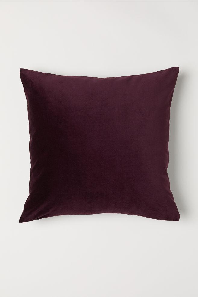 Cotton Velvet Cushion Cover - Purple - Home All | H&M US 1