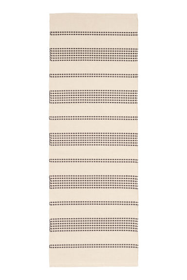 Textured striped cotton rug - Natural white/Anthracite grey - Home All | H&M GB 1