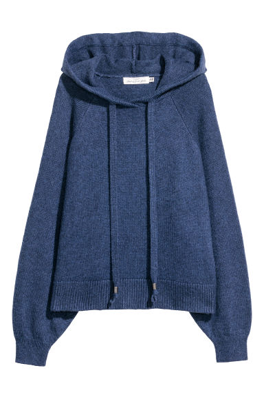 Knitted hooded jumper - Dark blue marl - Ladies | H&M