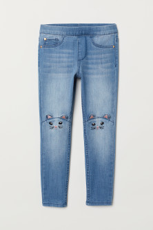 Denim Leggings with Appliqués