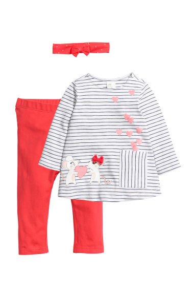 3-piece set - White striped/Mice -  | H&M
