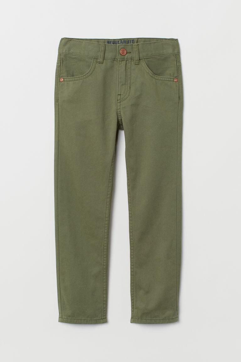 Twill trousers Regular Fit - Khaki green - Kids   H&M GB