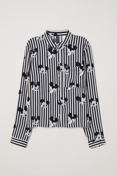 Viscose Shirt - Black striped/Mickey Mouse - Ladies | H&M CA