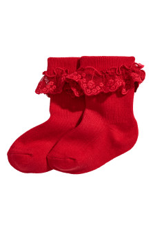 2-pack lace-trimmed socks