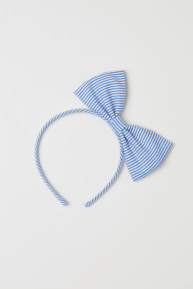 Alice band with a bow - Blue/White striped - Kids | H&M CN