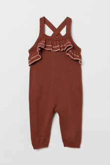 Frill-trimmed dungarees