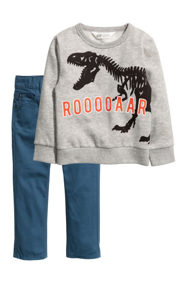 Sweatshirt and twill trousers - Grey marl/Dinosaur -  | H&M CN