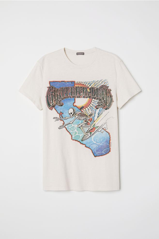 Camiseta en punto de algodón - Blanco natural/Grateful Dead - HOMBRE | H&M ES 4