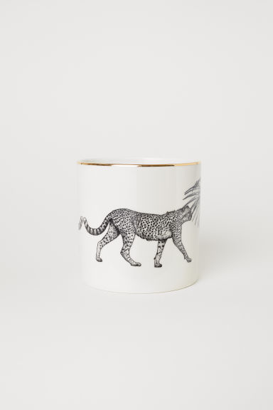 Porcelain plant pot - White/Cheetah - Home All | H&M CN