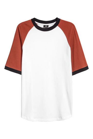T-shirt with raglan sleeves - White/Rust - Men | H&M