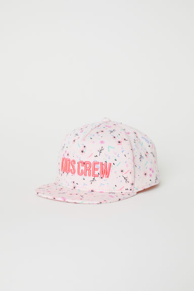 Cap with a glittery peak - Light pink/Floral - Kids | H&M CN