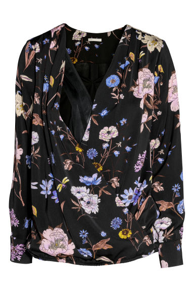 MAMA Nursing blouse - Black/Floral -  | H&M