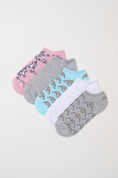 5-pack trainer socks - Light grey/Rainbows - Ladies | H&M CN