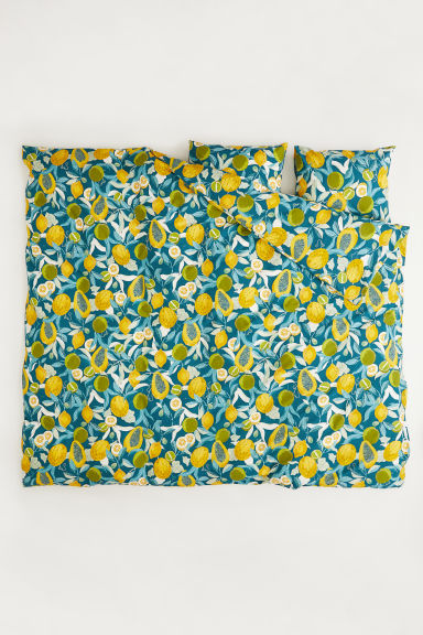 Patterned duvet cover set - Dark turquoise/Fruit - Home All | H&M CN