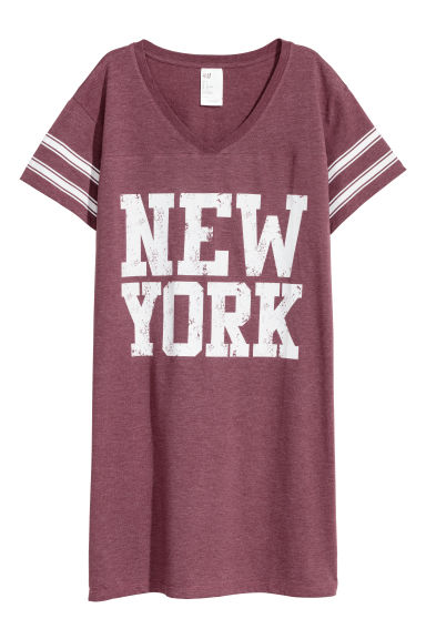 Nightdress with a print motif - Burgundy/New York - Ladies | H&M IE