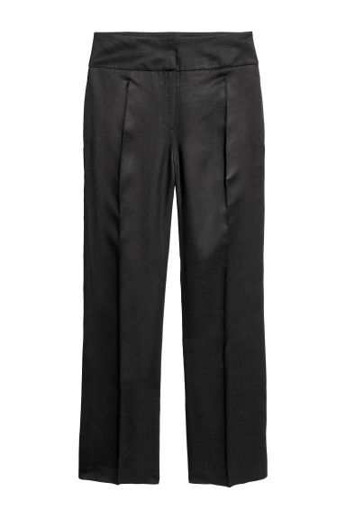 Linen-blend suit trousers - Black - Ladies | H&M CN