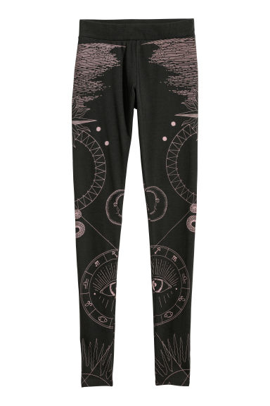 Patterned leggings - Black/Patterned - Ladies | H&M