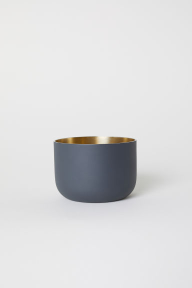 Short metal plant pot - Anthracite grey - Home All | H&M IE