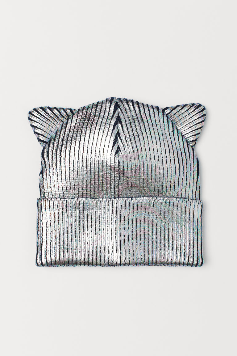 Shimmering hat with ears - Silver-coloured/Dark blue - Kids | H&M GB
