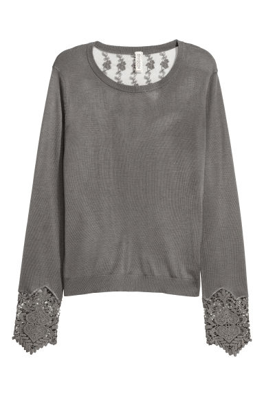 Jumper with lace details - Dark grey - Ladies | H&M