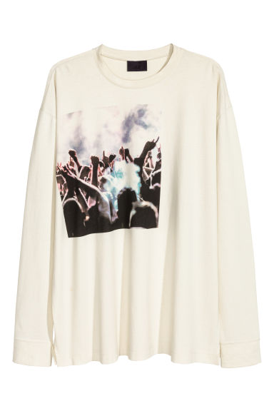 Printed jersey top - Natural white -  | H&M GB