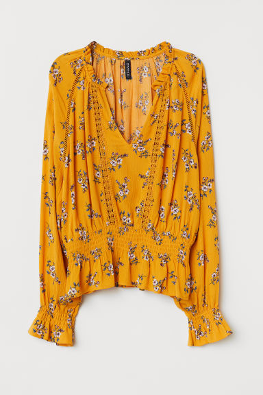 Blouse with lace details - Dark yellow/Floral - Ladies | H&M CN