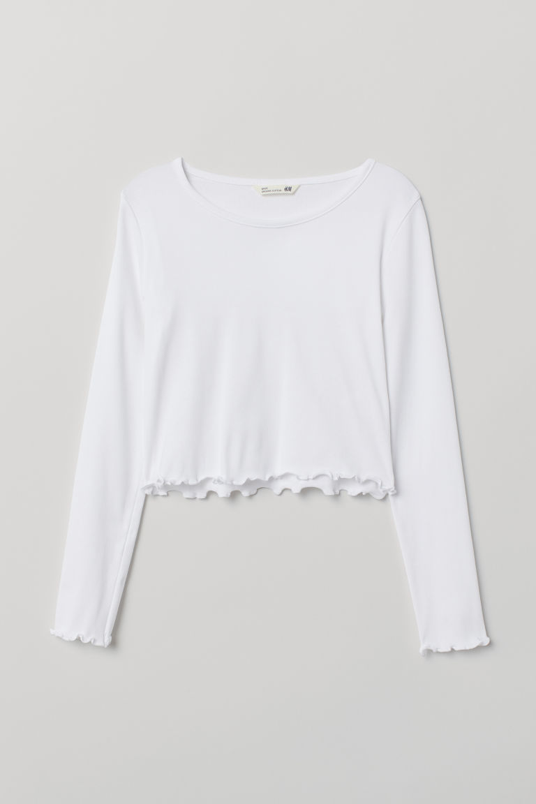 Short jersey top - White - | H&M GB
