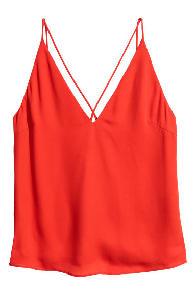 V-neck top - Red -  | H&M