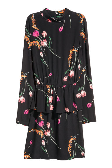 Dress with a flounce - Black/Floral - Ladies | H&M