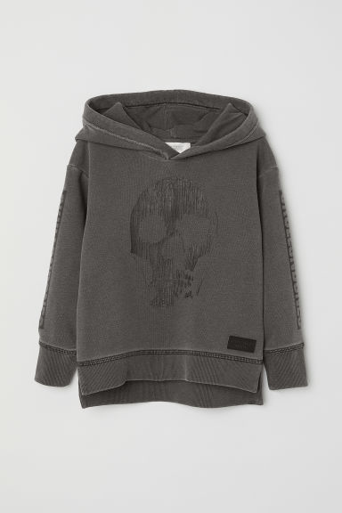 Printed hooded top - Dark grey/Skull - Kids | H&M