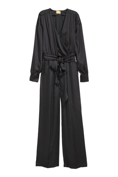 Tuta in satin - Nero - DONNA | H&M IT