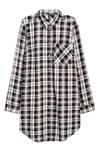 Long viscose shirt - Old rose/Blue checked - Ladies | H&M CN