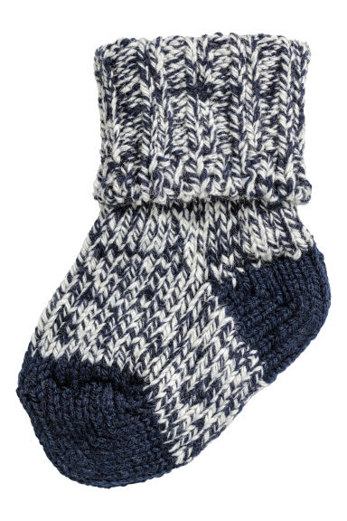 Thick wool-blend socks - Dark blue marl - Kids | H&M CN 1