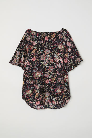Trumpet-sleeved blouse - Black/Floral -  | H&M
