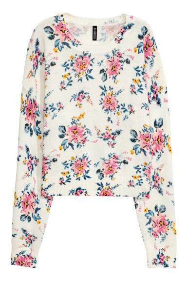 Knitted jumper - White/Floral - Ladies | H&M IE