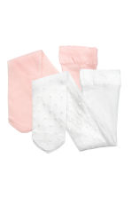 2-pack microfibre tights - White/Pink -  | H&M CN 1