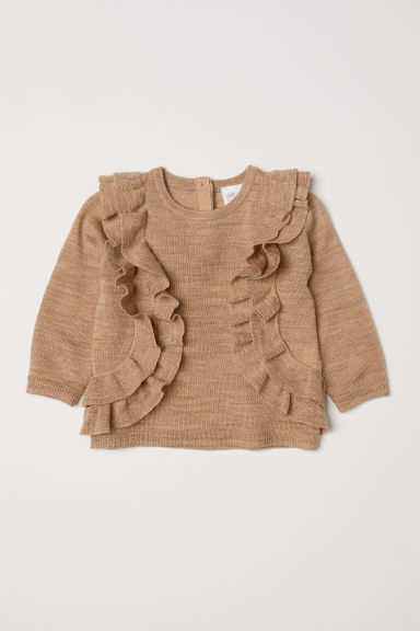 Merino wool frilled jumper Model