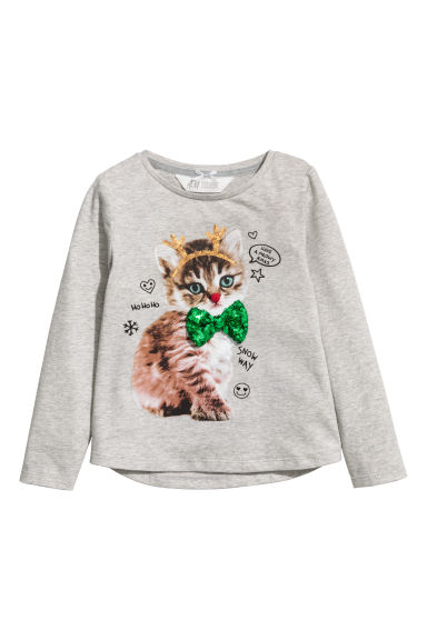 Top en jersey à motif - Gris clair/chat - ENFANT | H&M FR