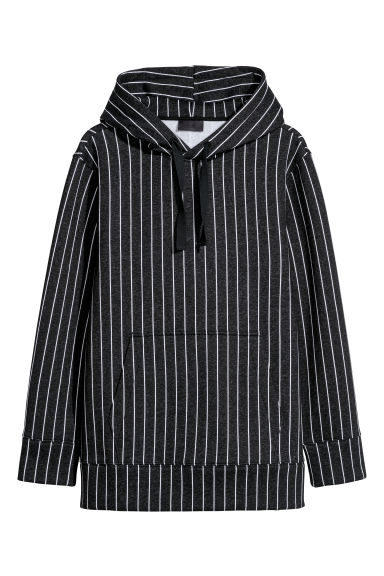 Striped hooded top - Black marl/White striped -  | H&M