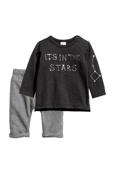 Cotton top and trousers - Black/In the stars - Kids | H&M