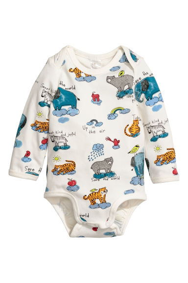 Long-sleeved bodysuit - Natural white/Wild animals - Kids | H&M CN