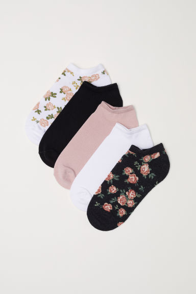 5-pack trainer socks - White/Floral - Ladies | H&M CN