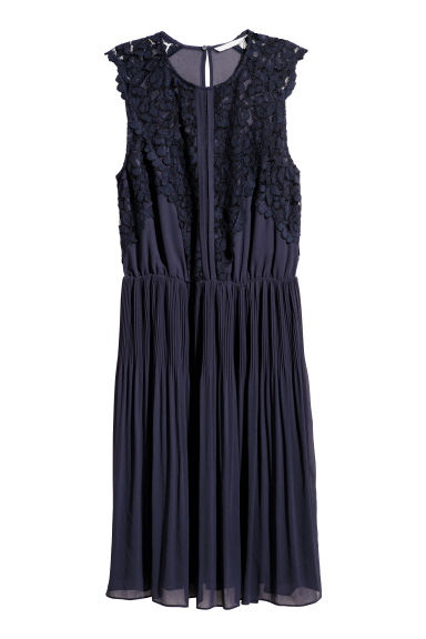 Chiffon dress - Dark blue - Ladies | H&M