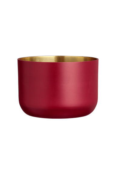 Short metal plant pot - Dark red - Home All | H&M CN