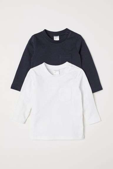 2-pack jersey tops - Dark blue/White - Kids | H&M CN