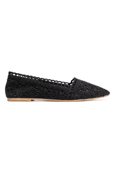 Crocheted ballet pumps - Black - Ladies | H&M GB
