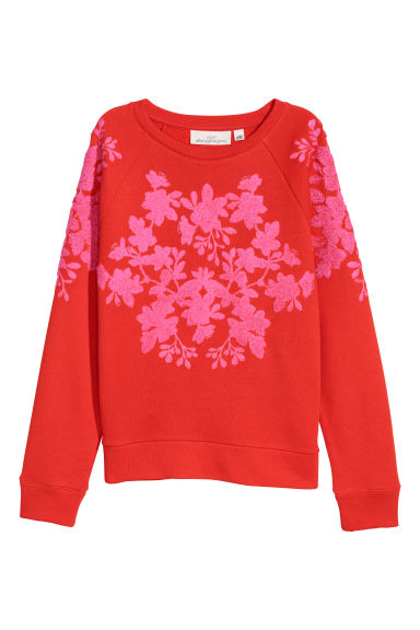 Sweatshirt with appliqués - Bright red - Ladies | H&M IE