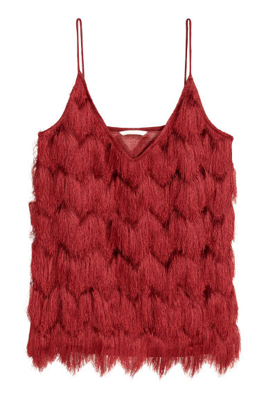 Top with fringes - Red -  | H&M
