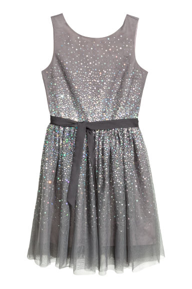 Sequined dress - Dark grey - Kids | H&M